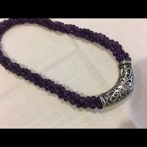 """Jewelry - Vintage solid sterling amethyst bead necklace 18"""""""